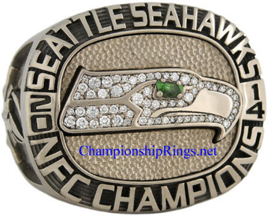 "Picture of 2014 Seattle Seahawks ""N.F.C."" Champions 14K White Gold, with Diamonds, Player's Ring and Original Presentation Box"