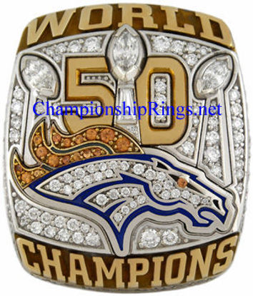 "Picture of 2015 Denver Broncos ""Super Bowl 50"" Champions 10K White Gold, with Diamonds, Player's Ring"
