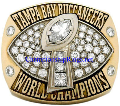 "Picture of 2002 Tampa Bay Buccaneers ""Super Bowl XXXVII"" Champions 14K Gold, with Diamonds, Player's Ring"