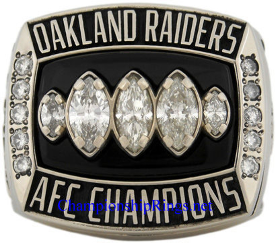 """Picture of 2002 Oakland Raiders """"A.F.C."""" Champions 14K White Gold, with Diamonds, Player's Ring and Original Wood Presentation Box"""