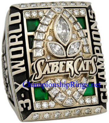 "Picture of 2007 San Jose SaberCats ""A.F.L. 3-X World Champions"" 14K White Gold, with Diamonds and Emeralds, Player's Ring"
