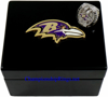 """Picture of 2012 Baltimore Ravens """"Super Bowl XLVII"""" Champions 14K White Gold, with Diamonds, Player's Ring and Original Presentation Box"""