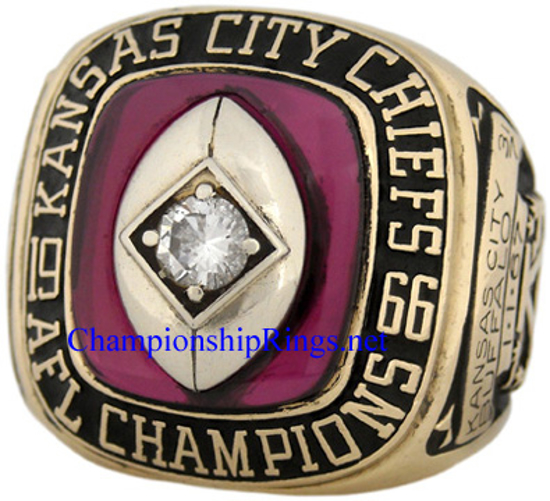 """Picture of 1966 Kansas City Chiefs """"A.F.L."""" Champions 10K Gold and Diamond Player's Ring"""