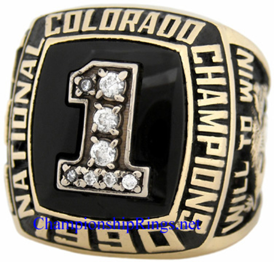 "Picture of 1990 Colorado Buffaloes ""National Champions"" 10K Gold, with C.Z.s, Football Player's Ring"