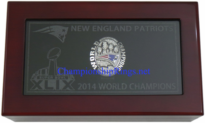 "Picture of 2014 New England Patriots ""Super Bowl XLIX"" Champions 10K White Gold, with Diamonds, Player's Ring and Original Presentation Box"