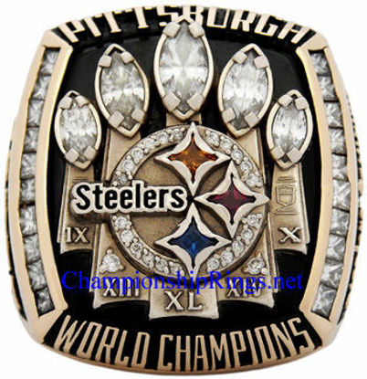 "Picture of 2005 Pittsburgh Steelers ""Super Bowl XL"" Champions 14K Gold, with Diamonds, Player's Ring"